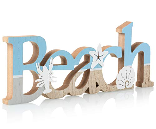 "TideAndTales Wooden Beach Word Sign 15.5"" x 6"" - Beach Theme Decor for Beach House or Coastal Themed Room - Creative Beach Decorations for Home - Beach Gifts"
