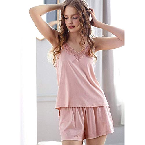 Junson Sleepsuits Summer Cotton lace Strappy Pajamas Cute Princess Style Home wear Shorts Two-Piece Suit Pink (Size : L) for You (Size : Small) by Junson (Image #1)