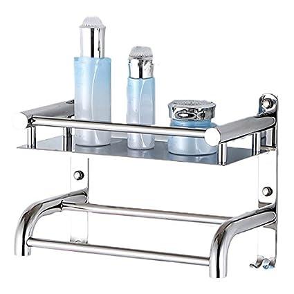 Estante de baño de Acero Inoxidable 304 con toallero con Soporte de Ducha  Gancho baño baño a2bdc3373b1e