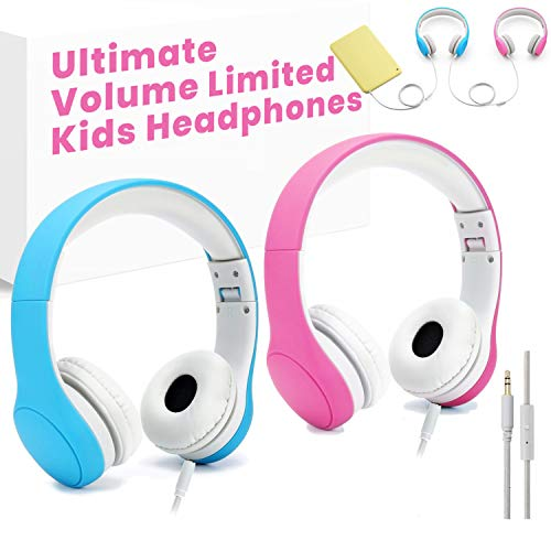 [Volume Limited] KPTEC Kids Safety Foldable On-Ear Headphones with Mic, Volume Controlled at Max 93dB to Prevent Noise-induced Hearing Loss (NIHL), Passive Noise Reduction, Wired Earbuds,Blue & Pink