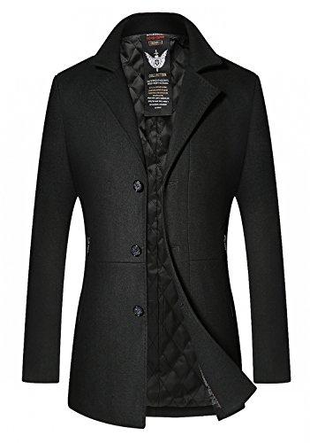 Three Button Wool Coat (HOP FASHION Mens Long Wool Overcoat Winter Thicken Three Button Slim Fit Pea Coat Outwear Jacket HOPM043-Black-XXL)