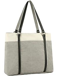 "Canvas Laptop Tote Bag 15.6"" Work Shopper Shoulder Handbag for Women(Gray)"