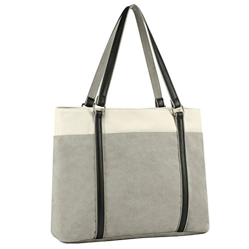 "Plambag Canvas Laptop Tote Bag 15.6"" Work Shopper Shoulder Handbag for Women (Gray)"