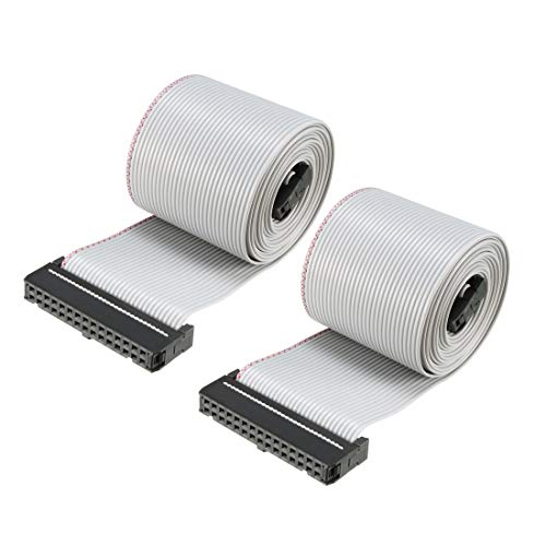 uxcell IDC 30 Pins Wire Flat Flexible Gray Ribbon Jumper Cable 128cm 2.54mm Pitch,2pcs ()