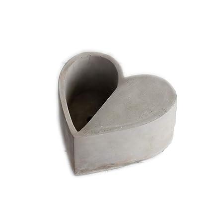 Macetas, macetas de cemento con forma de corazón, creatividad individual, macetas de plantas