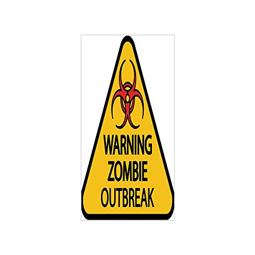 3D Decorative Film Privacy Window Film No Glue,Zombie Decor,Warning Zombie Outbreak Sign Cemetery Infection Halloween Graphic Decorative,Earth Yellow Red Black,for Home&Office