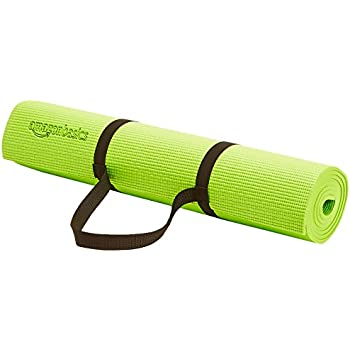 AmazonBasics 1/4-Inch Yoga and Exercise Mat with Carrying Strap, Green