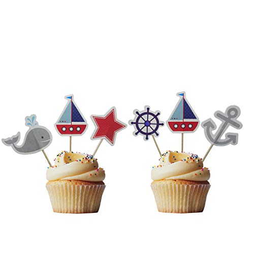 Birthday Boy Cupcake - Morndew 24 PCS Yacht Pirate Ship Whale Sailboat Cupcake Toppers for Ocean Sailing Theme Party Birthday party Baby Shower Wedding Party Decorations