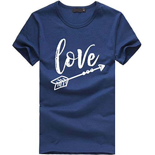 2019 New Women Girls Plus Size Letter Tees Shirt Short Sleeve T Shirt Blouse Tops Under 10 Dollar Navy