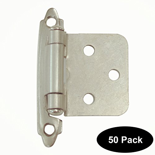 50 PCS Brushed Satin Nickel Decorative Self Closing Face Mount Flat Kitchen Cabinet Hinges Variable Overlay