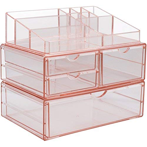 Sorbus Acrylic Cosmetics Makeup and Jewelry Storage Case X-Large Display Sets -Interlocking Scoop Drawers to Create Your Own Specially Designed Makeup Counter - Stackable and Interchangeable (Pink)