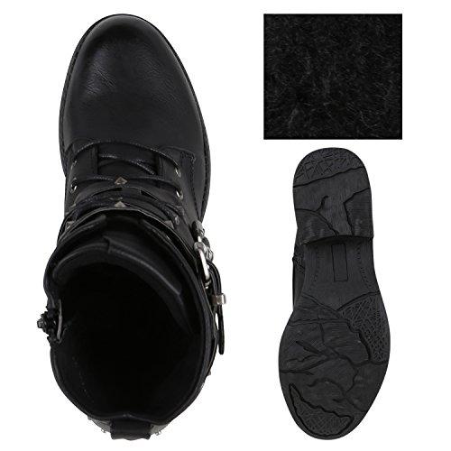Stiefelparadies Damen Stiefeletten Leicht Gefütterte Outdoor Worker Boots Flandell Schwarz Nieten Agueda