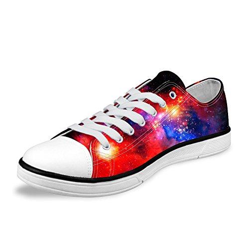 För U Designar Snygga Unisex Galax Print Duk Mode Sneaker Tillfälliga Spets-up Låg Topp Platta Skor Galaxy 5