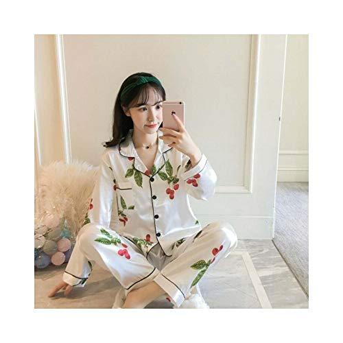 Fashion Women's Silk Print Pajamas Set Long Sleeve Satin Sleepwear Loungewear Pj White Bayberry L]()
