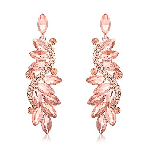 - NLCAC Women's Wedding Earrings for Brides Dangling Rhinestone Crystal Chandelier Earring Drop Bridesmaids (rose gold earrings)