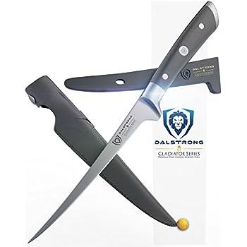 "DALSTRONG Filet Knife - 7"" Flexible - Gladiator Series - German HC Steel - w/ Two Sheaths"