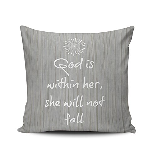 SALLEING Custom Fashion Home Decor Pillowcase White Bible Verse on Gray Wood Quotes Pattern Square Throw Pillow Cover Cushion Case 18x18 Inches One Sided Print