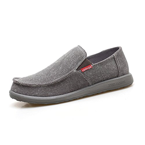 Loafers Gray Shoe Canvas On Shoes Canvas Sneakers Men's Fashion Slip Casual Boat w04PvATqZx