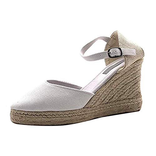 Espadrilles Wedge for Women,ONLYTOP Womens Wedge Sandals Ankle Strap Closed Toe Heeled Sandals Wedge Pump Summer Shoes White