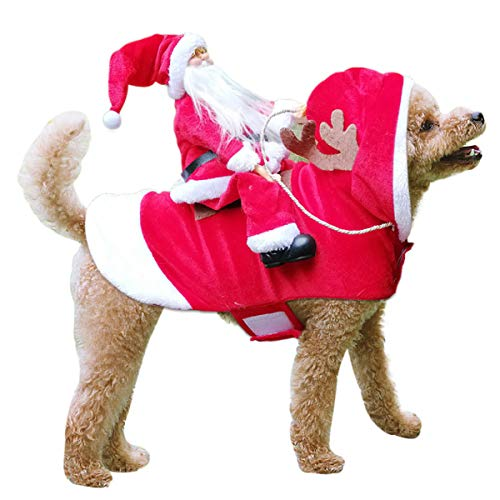 TOPNEW Pet Santa Christmas Costumes Santa Dog Costume Dog Warm Apparel Party Dressing up Clothing for Dogs Cats Pet Suit Animal Clothes