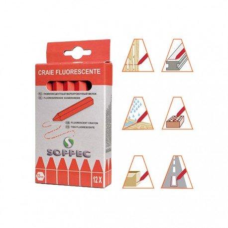 Signalisation Chantier - Boî te DE 12 craies de marquage Fluorescente - Rouge SOPPEC