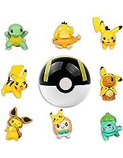 HONGECB Mini Pikachu figuren set, speelgoed cake-topperset, Pokem figuren taartdecoratie, Pokemon-verjaardagsfeest, cupcake-figuren, taartdecoratie voor kinderen verjaardag baby, 9 stuks