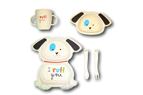 - Tiny Footprint Bingo the Dog Plate Cup Bowl and Utensil Set, Reusable Biodegradable Bamboo