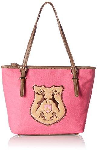 Alpenflüstern Trachtentasche Hirsch-wappen Damen Dta054, cartella Donna Rosa (Pink)