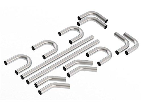 Borla 60592 Universal Hot Rod Kit 3 in. OD T-304 Stainless Steel Incl. [4] 45 Deg. Elbows/[4] 90 Deg. Elbows/[4] 180 Deg. U Bends/[2] 5 ft. Long Straight Tubing Sections - Borla Tubing