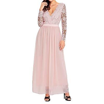 Eiffel Women's Crochet Lace Chiffon Formal Party Wedding Dress Bridesmaid Maxi Long Dresses