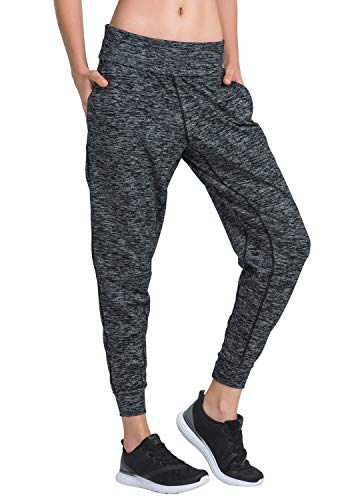 Matymats Women's Sports Harem Sweat Pant Jersey Pocket Jogger (X-Large/Tag Size 10, Heather Black)