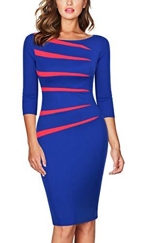 Houndstooth Short Sleeve Shorts - FORTRIC Women 2/3 Sleeve Slim Asymmetric Stitching Bodycon Business Work Pencil Dress Blue XXL