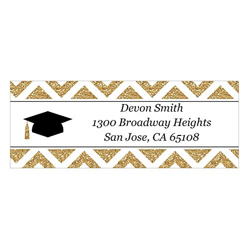 Custom Tassel Worth The Hassle - Gold - Personalized Graduation Party Return Address Labels - Set of 30