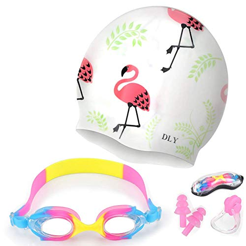 DLY 5 in 1 Swimming Goggles + Swim Cap + Nose Clip + Ear Plugs + Case, Waterproof, No Leaking, Anti-Fog, Free Protection Case, Comfortable Fit for Youth Kids Child