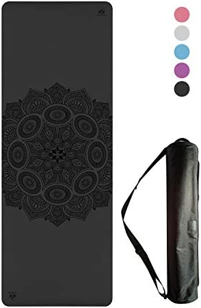 Non-Slip Yoga Mat – Stays Fresh and Odor-Free – Grippy Cushy and Spacious – Made from Best Natural Tree Rubber – Great for Hot Yoga, Pilates, Exercise Includes Carry Bag with Strap