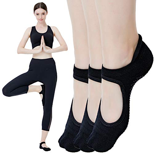 Cheap Yoga Socks for Women Non Skid Socks with Grips Barre Socks Pilates Socks for Women (backless-3 Pack Size 5.5-8.5)