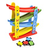 GYBBER&MUMU Wooden Ramp Racer Race Track for Toddler with 4 Mini Car Racers