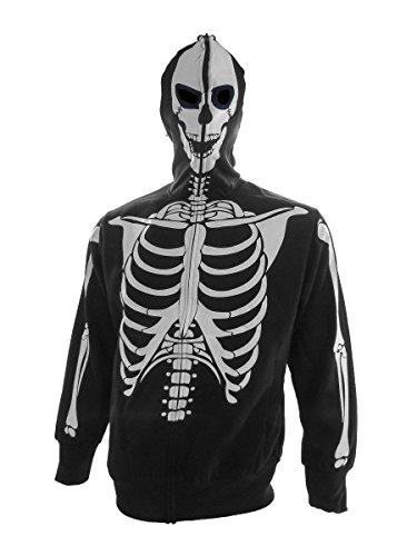 Men's Skeleton Halloween Hoodie Sweatshirt (Men's Glow in The Dark Skeleton Costume Zip Hoodie (Black,)