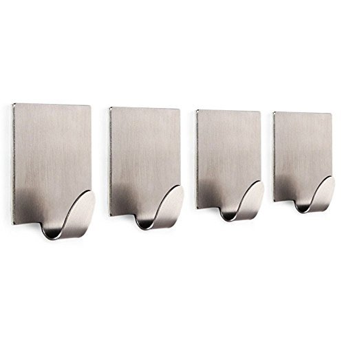 Self Adhesive Hooks Key Rack SUS 304 Stainless Steel Garage Storage Organizer Stick On Sticky Bathroom Kitchen Towel Hanger Wall Mount Contemporary Style 4 Pack