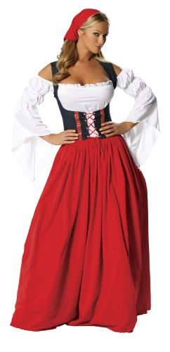 Roma Costume 4 Piece Swiss Miss, Red/White, Medium/Large
