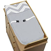 Sweet Jojo Designs Zig Zag Gray and White Chevron Baby Changing Pad Cover