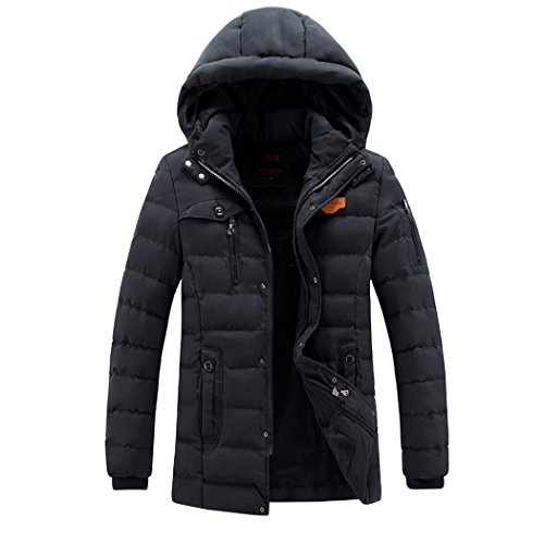 Parka Windproof LEADER Winter WALK Puffer Thick Hooded Black Coat Fabric Oxford Men's OBTwTqgv