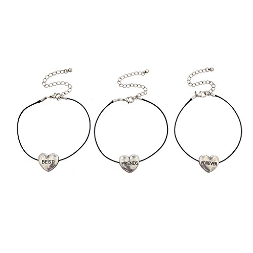 Price comparison product image Lux Accessories Silvertone Heart Best Friends Forever BFF Bracelet Set (3PCS)