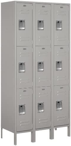 B005IG6HQM Salsbury Industries 63365GY-U Unassembled Standard Metal Locker with Triple Tier, Gray 41L1fImv5IL