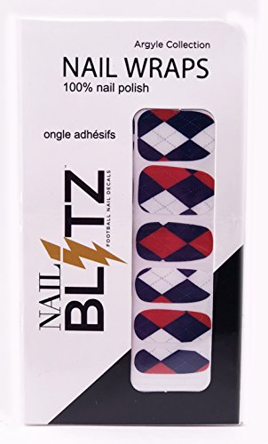 - Nail Blitz Blue Goliath Slot 62 100% Nail Polish Football Inspired Nail Wrap Argyle Collection