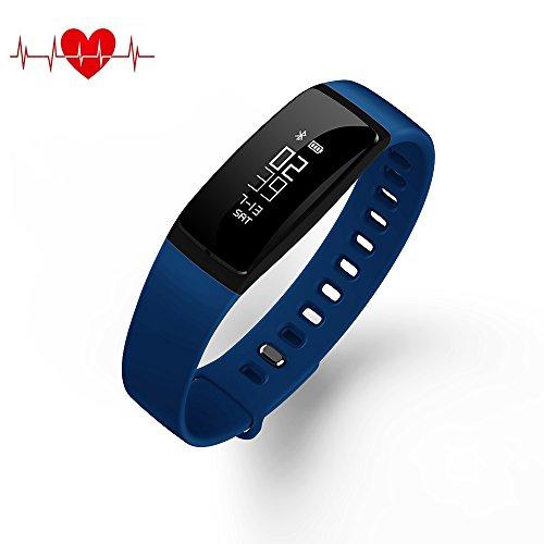 QQPOW Fitness Tracker Bluetooth 4.0 Blood Pressure Heart ...
