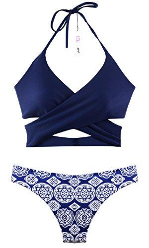 Womens Sexy Criss Cross Swimsuits Brazilian Padded Bathing Suits Halter Push Up Bikini Set Navy M