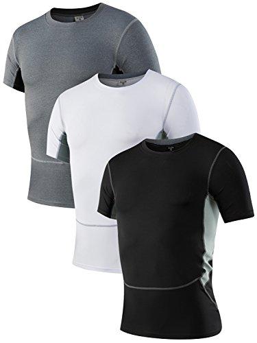 Yuerlian Men's 3 Pack Breathable Sports Fitness Short Sleeve Baselayer Shirt