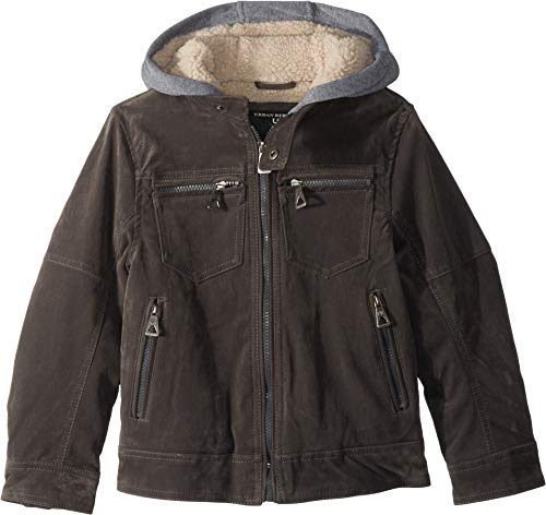 Urban Republic Kids Boy's Alexander PU Suede Moto Jacket Sherpa Lined Fleece Hood (Little Kids/Big Kids) Charcoal 14-16 ()