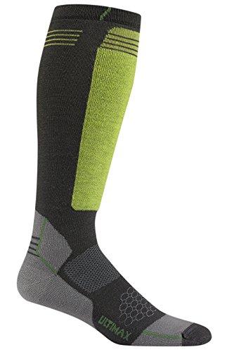 Wigwam Men's Snow Hellion Pro Ultimax Knee High Merino Wool Performance Ski Sock, Charcoal, Sock Size:10-13/Shoe Size: 6-12